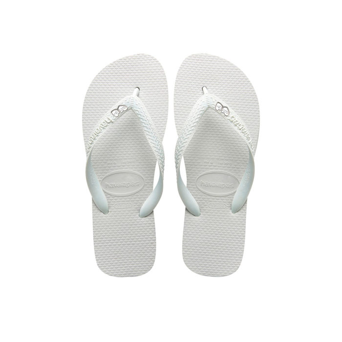 Havaianas White Top Flip-Flops with Silver Heart Personalised Wedding