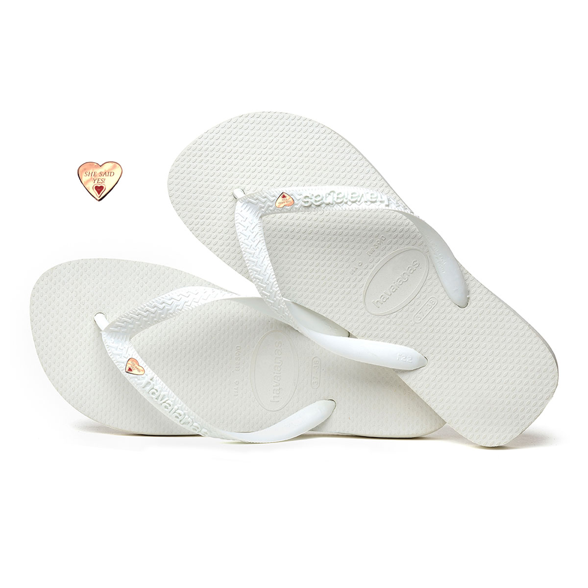 Havaianas White Top Flip-Flops with Gold Heart Personalised Wedding
