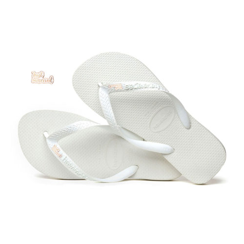 Just Married Rose Gold Charm Havaianas Top White Wedding Gift