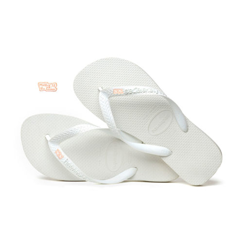 Mother of the Groom Rose Gold Charm Havaianas Top White Wedding Gift