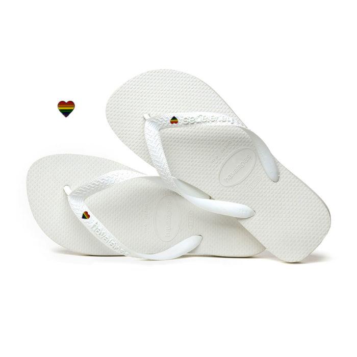 Havaianas White Top Flip-Flops with Pride Heart LGBT Personalised