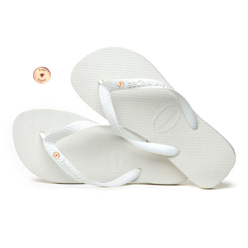 Havaianas White Top Flip-Flops with Rose Gold Charm Personalised