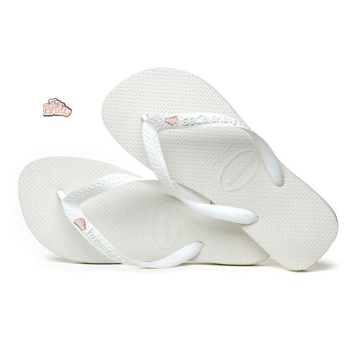 Rose Gold 'The Bride' Havaianas Top White Wedding Flip Flops