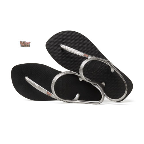 Pink Glitter Mother of the Bride Pin Havaianas Urban Silver Flip Flops