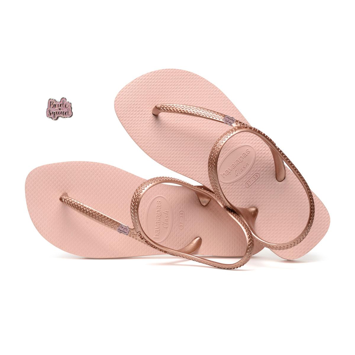 Bride Squad Pink Glitter Pin Havaianas Ballet Rose Flip Flops Wedding
