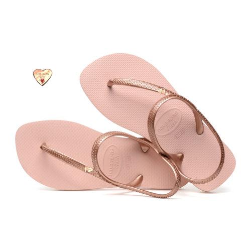 Gold Heart Personalised Havaianas Urban Ballet Rose Wedding Flip Flops