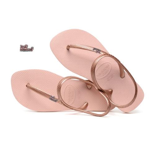 Just Married Pink Glitter Charm Havaianas Urban Ballet Rose Flip Flops