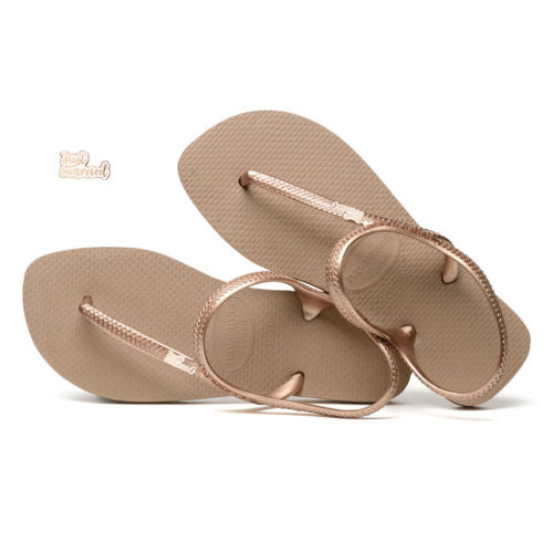 Just Married Rose Gold Charm Havaianas Urban Rose Gold Flip Flops