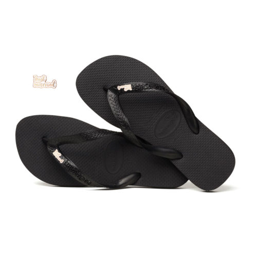 Rose Gold 'Just Married' Charm Havaianas Black Wedding Flip Flops