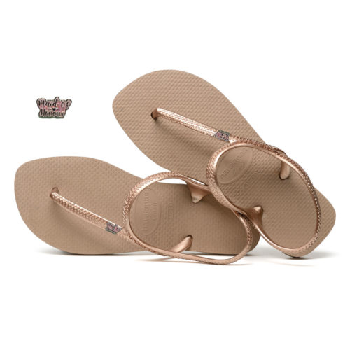 Maid of Honour Pink Glitter Pin Havaianas Urban Rose Gold Flip Flops