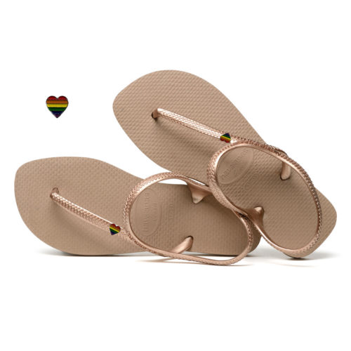 Pride Heart LGBT Charm Havaianas Urban Rose Gold Wedding Flip Flops
