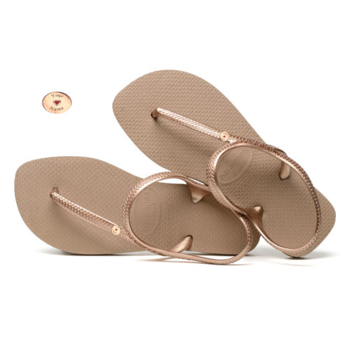 Round Rose Gold Charm Havaianas Urban Rose Gold Wedding Flip Flops