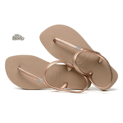 White Glitter 'The Bride' Havaianas Urban Rose Gold Wedding Flip Flops
