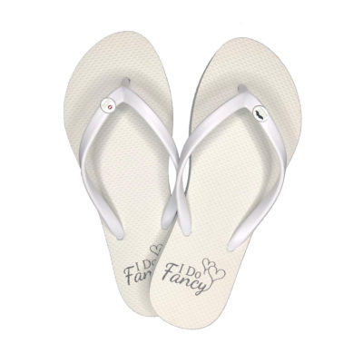 I Do Fancy White Flip-Flops with Silver Mr and Mrs Charm Wedding