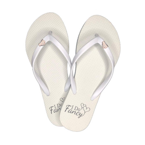 I Do Fancy White Flip-Flops with Rose Gold The Bride Charm Wedding