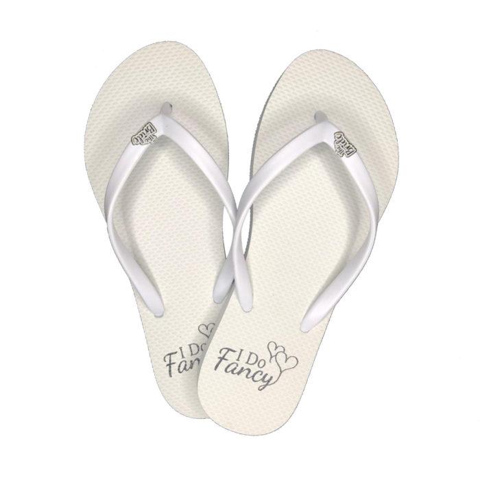 I Do Fancy White Flip-Flops with White Glitter The Bride Charm Wedding