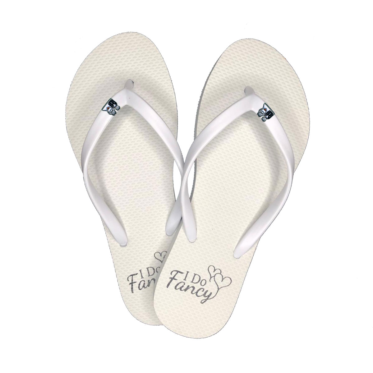 I Do Fancy White Flip-Flops with Silver Bride and Groom Charm Wedding