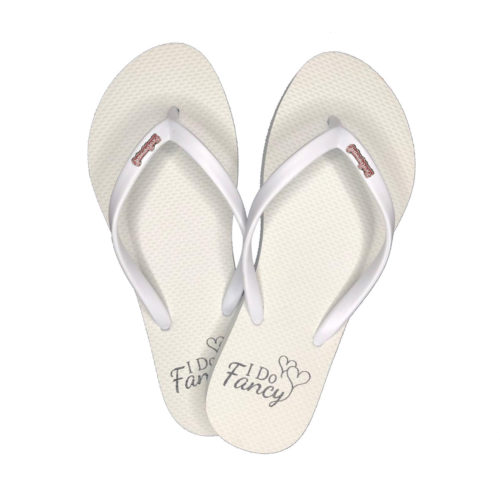I Do Fancy Slim White Flip-Flops Pink Glitter Bridesmaid Charm