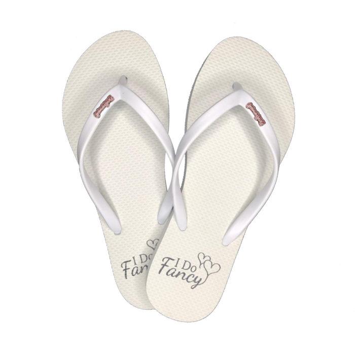 I Do Fancy Slim White Flip-Flops Pink Glitter Bridesmaid Charm