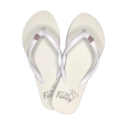 I Do Fancy White Flip-Flops with Pink Glitter Bride Squad Charm Wedding