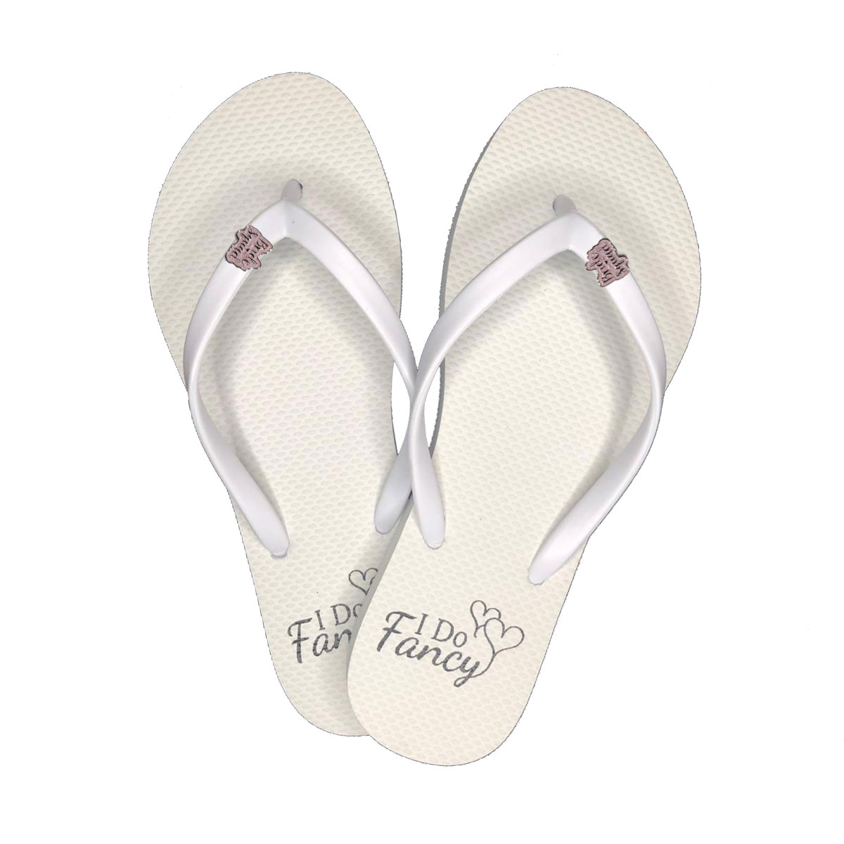 I Do Fancy White Flip-Flops with Pink Glitter Bride Squad Charm Wedding