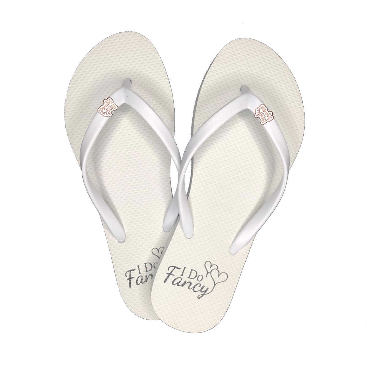 I Do Fancy White Flip-Flops with Rose Gold Bride Squad Charm Wedding