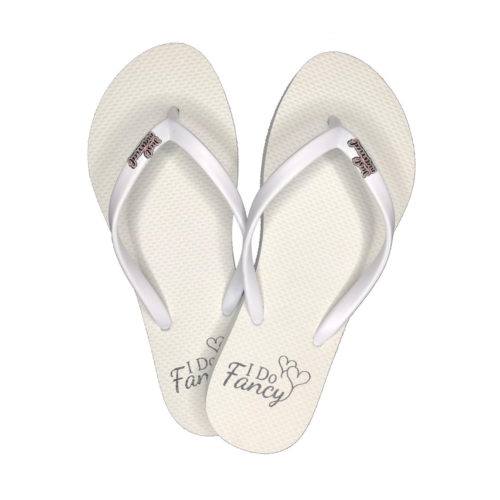 I Do Fancy White Flip-Flops with Pink Glitter Just Married Charm Wedding