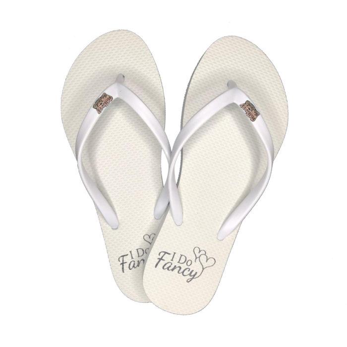 I Do Fancy Slim White Flip-Flops with Pink Glitter Maid of Honour Charm