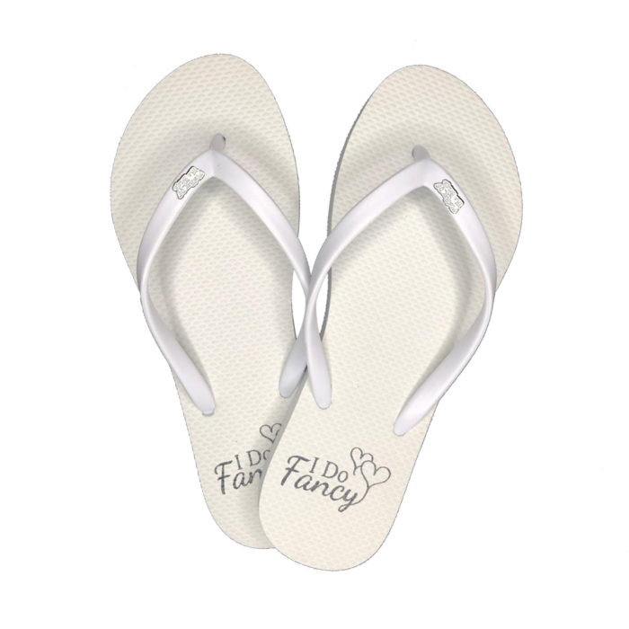 I Do Fancy Slim White Flip-Flops with Silver Mother of the Bride Charm