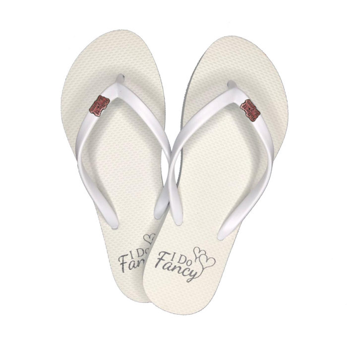 I Do Fancy White Flip-Flops with Pink Glitter Mother of the Groom Charm