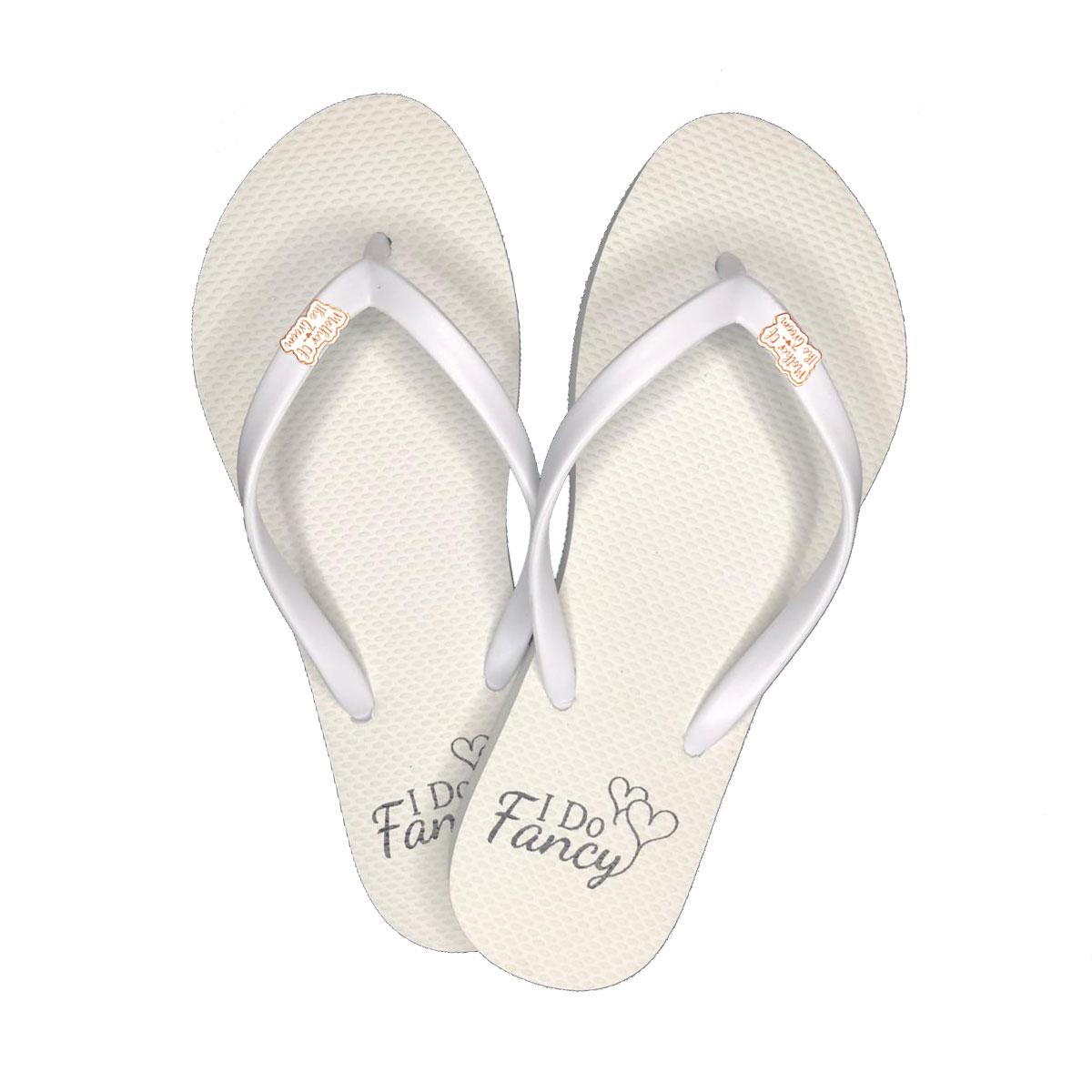 I Do Fancy Slim White Flip-Flops Rose Gold Mother of the Groom Charm