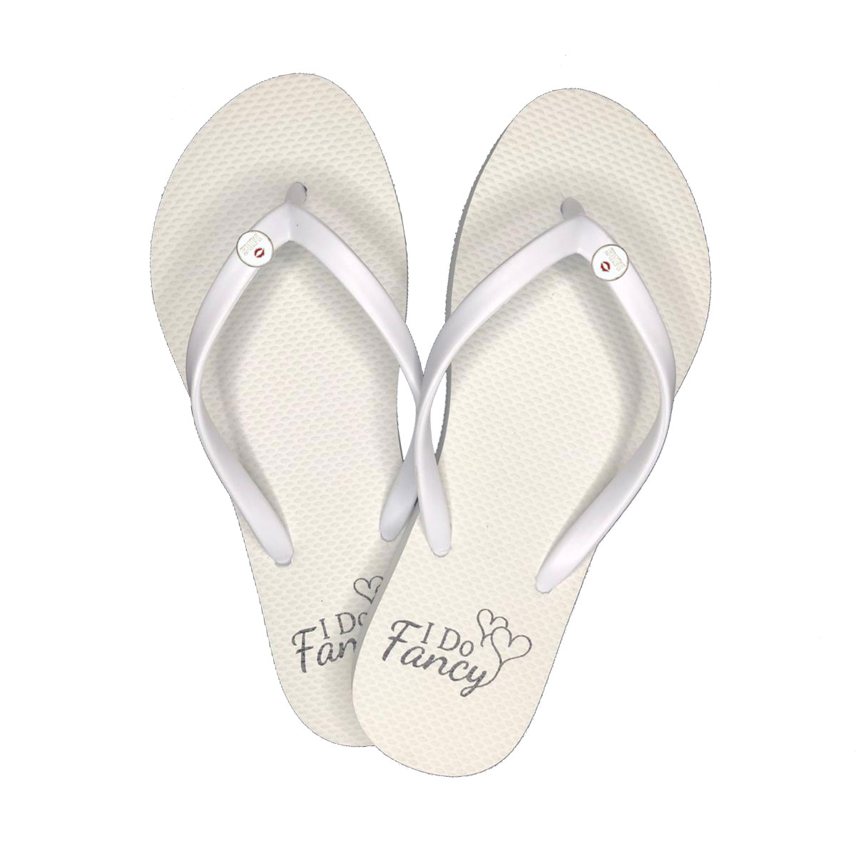 I Do Fancy White Flip-Flops with Silver Mrs and Mrs Charm Wedding