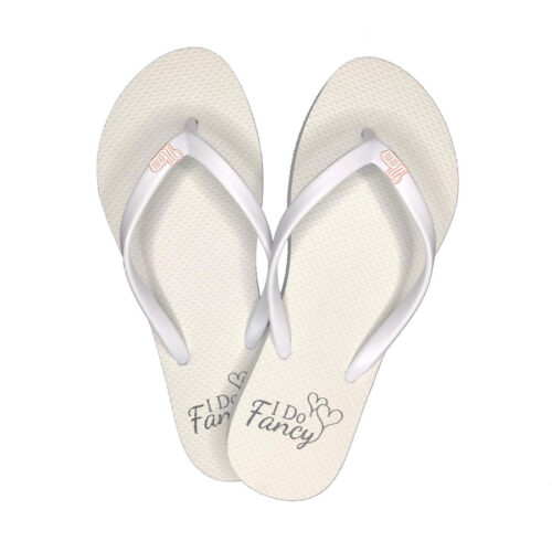I Do Fancy Slim White Flip-Flops with Rose gold mum charm