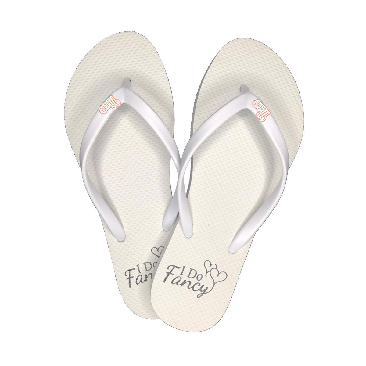 I Do Fancy Slim White Flip-Flops with Rose gold mum charm