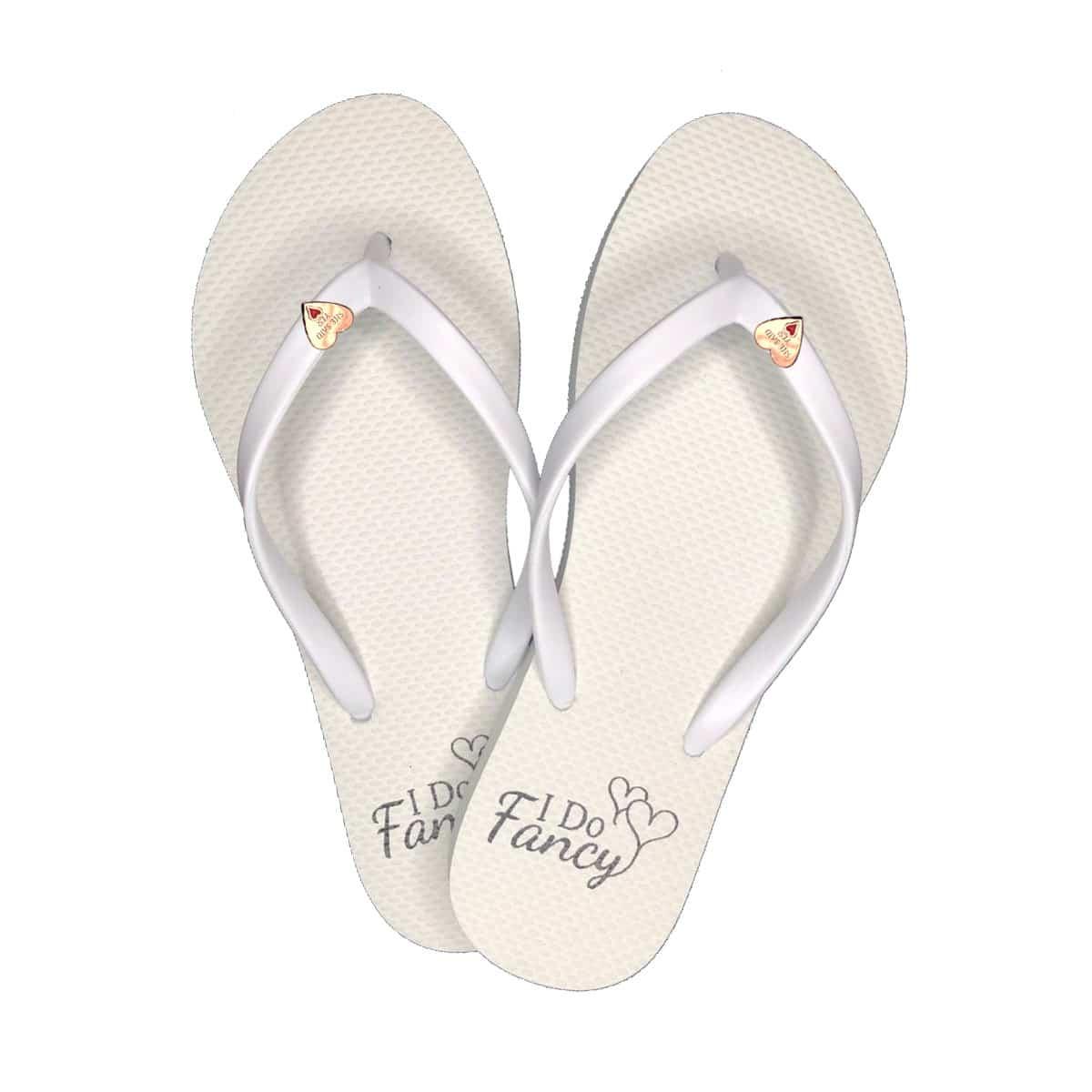 I Do Fancy Slim White Flip-Flops Rose Gold Heart Charm Personalised