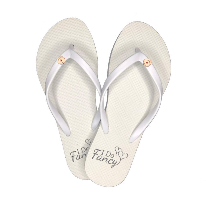 I Do Fancy Slim White Flip-Flops with Rose Gold Charm Personalised
