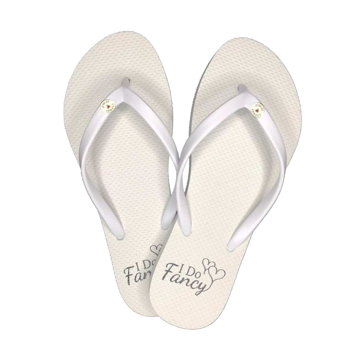 I Do Fancy Slim White Flip-Flops with Silver Charm Personalised