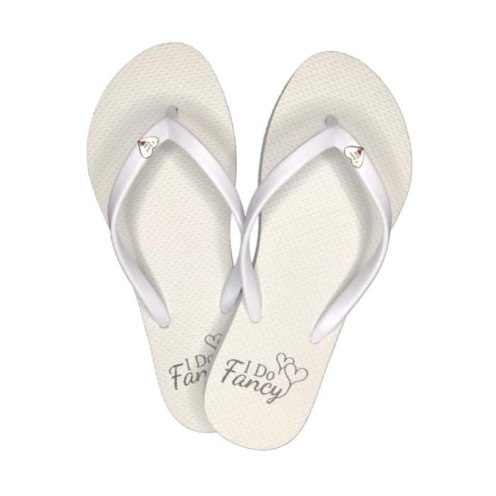I Do Fancy Slim White Flip-Flops with Silver Heart Charm Personalised