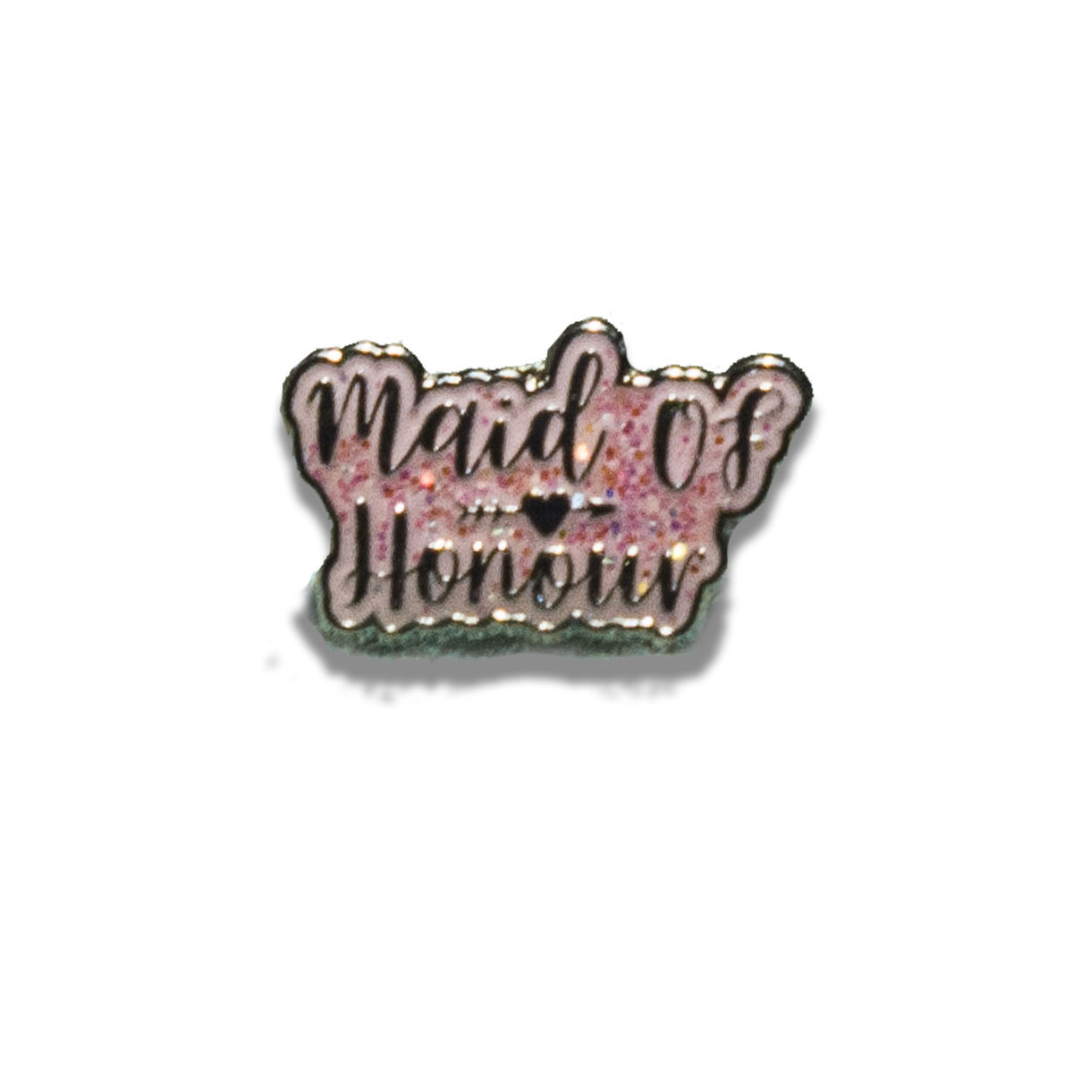 Maid of Honour Silver and Pink Glitter Charm Havaianas Slim Silver Metallic
