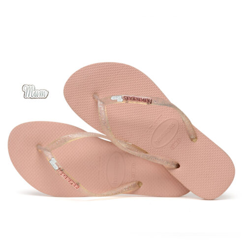 Havaianas Rose Metallic Flip-Flops with Silver Mum charm