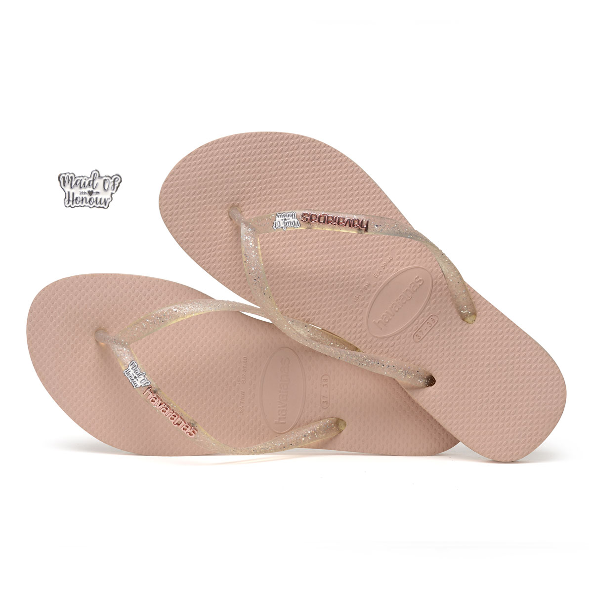 Havaianas Rose Metallic Flip-Flops with Silver & White Maid of Honour
