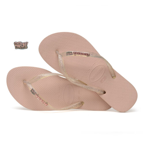 Havaianas Rose Metallic Flip-Flops with Pink Glitter Mother of the Bride