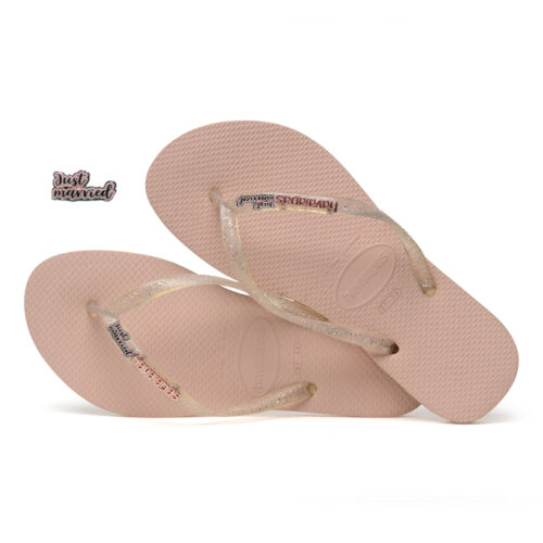 Just Married Pink Glitter Charm Havaianas Slim Rose Metallic