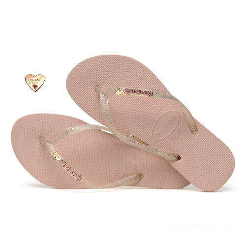 Rose Gold Heart Charm Havaianas Slim Rose Metallic