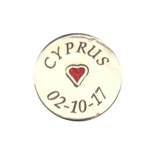 Silver Round Charm Engraved Heart