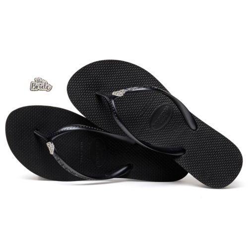 Havaianas Heel Black Flip-Flops with 'The Bride' Charm Wedding