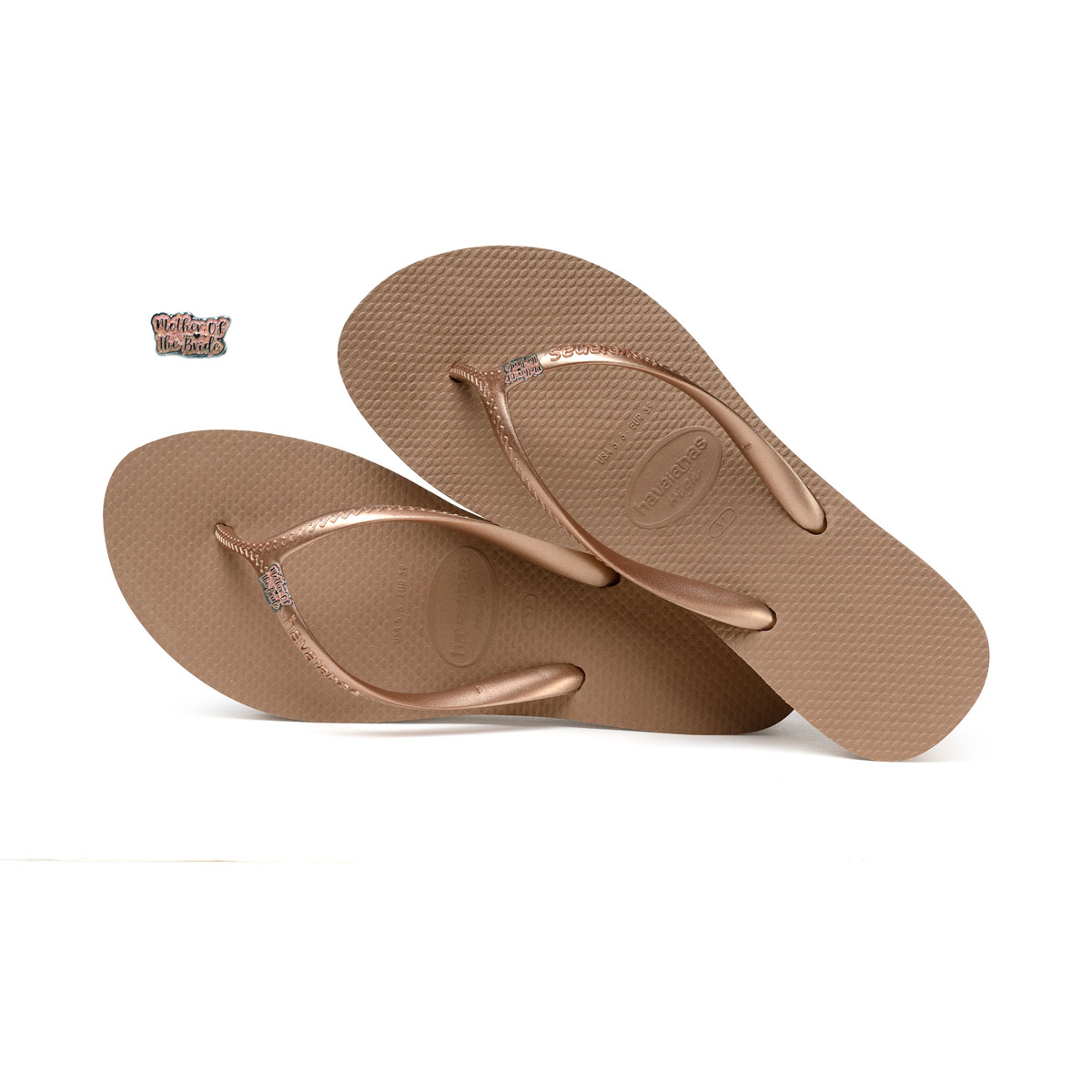 383a3a3415787 Mother of the Bride Silver and White Charm Havaianas Heel Rose Gold